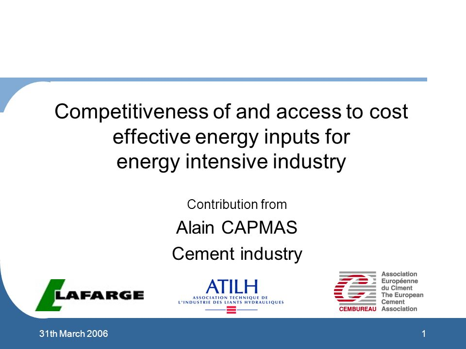 131th March 2006 Competitiveness of and access to cost effective energy inputs for energy intensive industry Contribution from Alain CAPMAS Cement industry