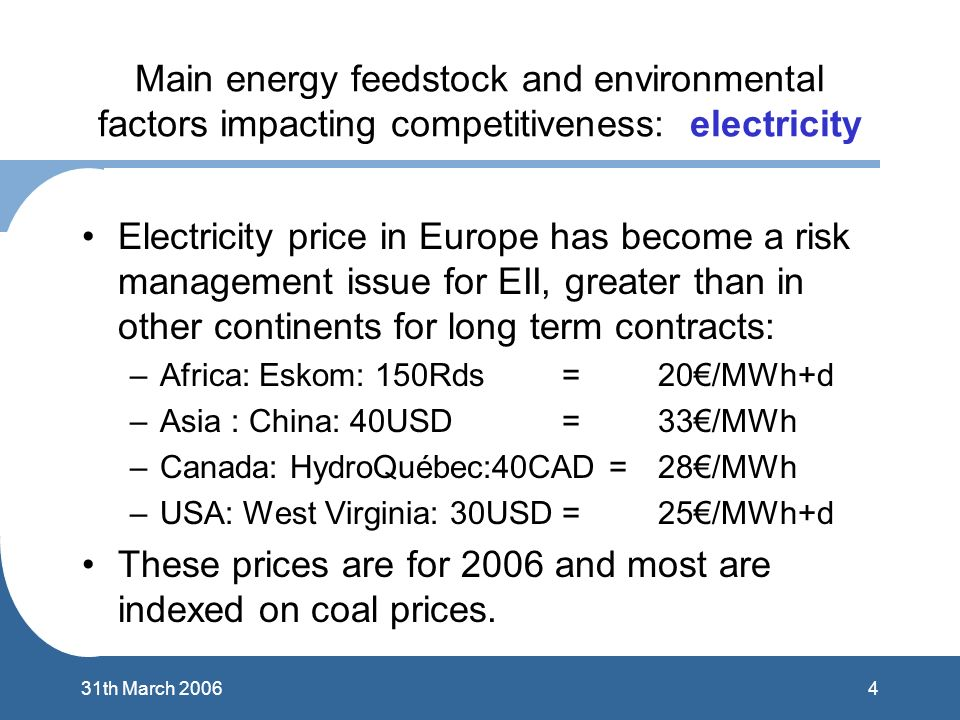 431th March 2006 Main energy feedstock and environmental factors impacting competitiveness: electricity Electricity price in Europe has become a risk management issue for EII, greater than in other continents for long term contracts: –Africa: Eskom: 150Rds= 20/MWh+d –Asia : China: 40USD = 33/MWh –Canada: HydroQuébec:40CAD = 28/MWh –USA: West Virginia: 30USD=25/MWh+d These prices are for 2006 and most are indexed on coal prices.