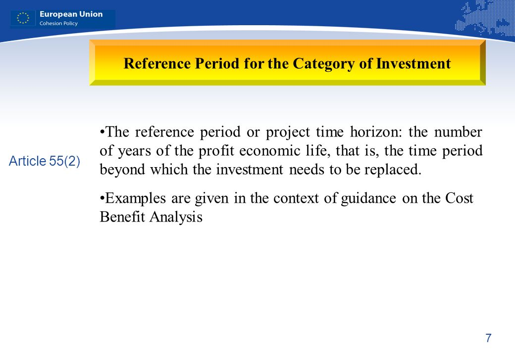 7 Reference Period for the Category of Investment The reference period or project time horizon: the number of years of the profit economic life, that is, the time period beyond which the investment needs to be replaced.