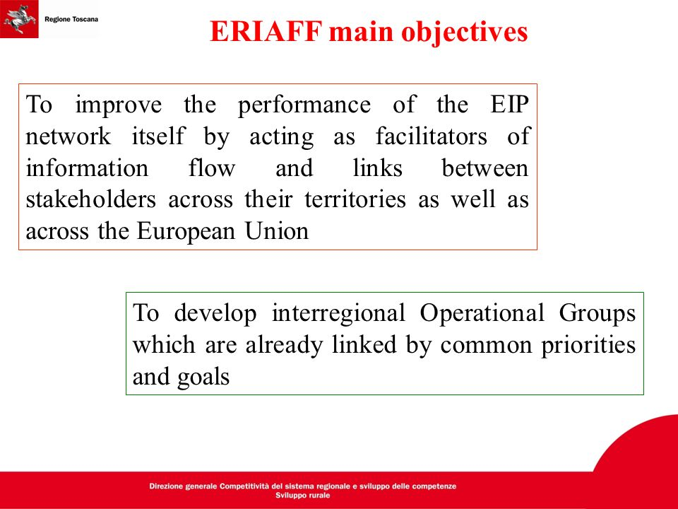 ERIAFF main objectives To develop interregional Operational Groups which are already linked by common priorities and goals To improve the performance