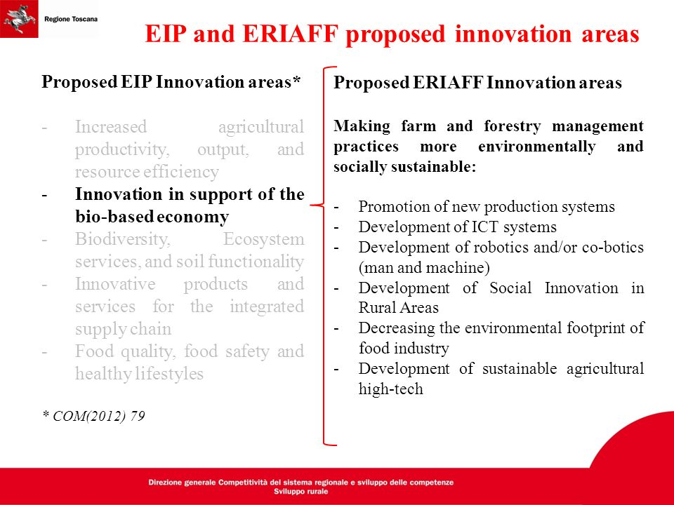 EIP and ERIAFF proposed innovation areas Proposed EIP Innovation areas* -Increased agricultural productivity, output, and resource efficiency -Innovat