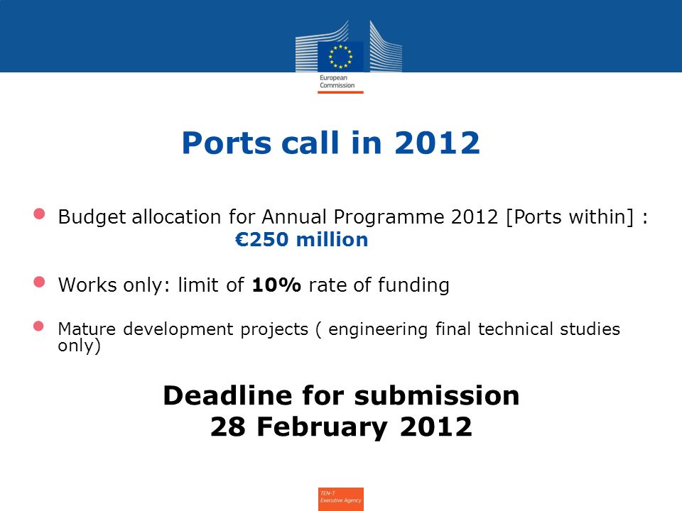 Ports call in 2012 Budget allocation for Annual Programme 2012 [Ports within] : 250 million Works only: limit of 10% rate of funding Mature development projects ( engineering final technical studies only) Deadline for submission 28 February 2012