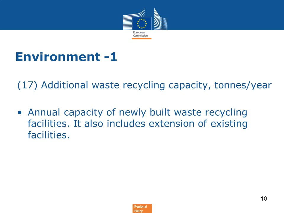 Regional Policy Environment -1 (17) Additional waste recycling capacity, tonnes/year Annual capacity of newly built waste recycling facilities.