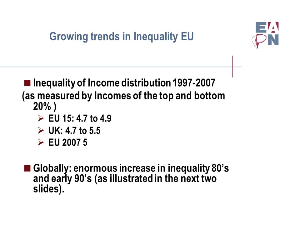 Growing trends in Inequality EU Inequality of Income distribution 1997-2007 (as measured by Incomes of the top and bottom 20% ) EU 15: 4.7 to 4.9 UK: