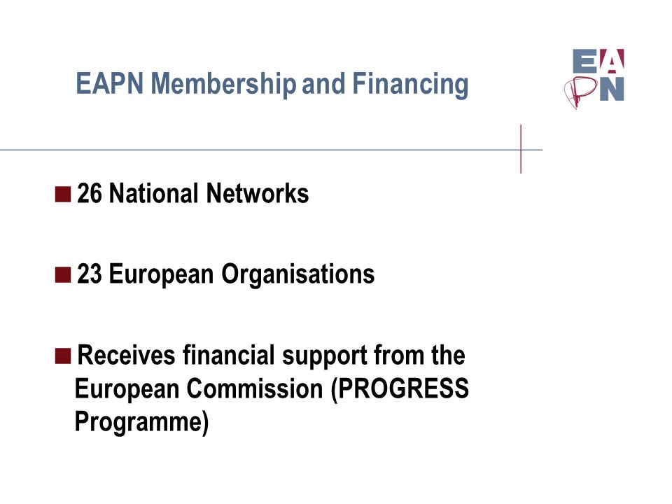 EAPN Membership and Financing 26 National Networks 23 European Organisations Receives financial support from the European Commission (PROGRESS Program