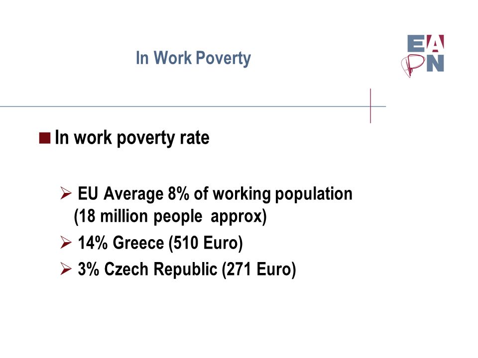 In Work Poverty In work poverty rate EU Average 8% of working population (18 million people approx) 14% Greece (510 Euro) 3% Czech Republic (271 Euro)
