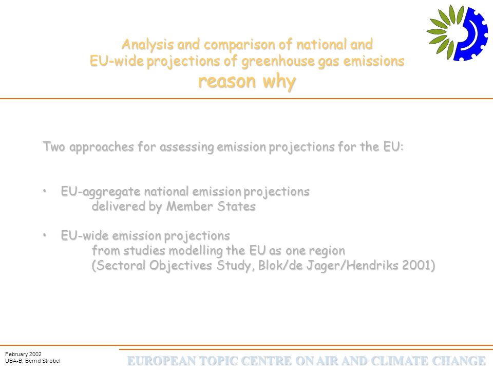 EUROPEAN TOPIC CENTRE ON AIR AND CLIMATE CHANGE February 2002 UBA-B, Bernd Strobel Analysis and comparison of national and EU-wide projections of greenhouse gas emissions Total GHG emissions for EU15 in 2010 101 based on EU-wide projection 100 based on national projection