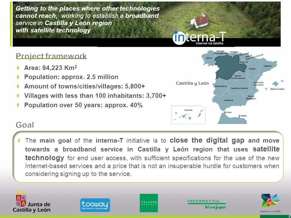 Getting to the places where other technologies cannot reach, working to establish a broadband service in Castilla y León region with satellite technology 3 21% of Castilla y Leóns villages Potential customers (residential) : 16,692 (*) End: August 2012 Investment: up to 3 million interna-T has the technology and the capacity to provide a definitive and affordable solution for areas that suffer the consequences of the digital gap, considerably improving on traditional satellite connections.