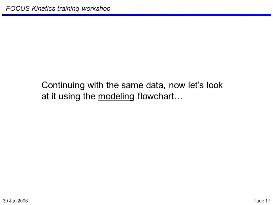 Page 17 FOCUS Kinetics training workshop Continuing with the same data, now lets look at it using the modeling flowchart… 30 Jan 2006