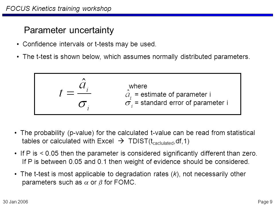 Page 9 FOCUS Kinetics training workshop Parameter uncertainty Confidence intervals or t-tests may be used.