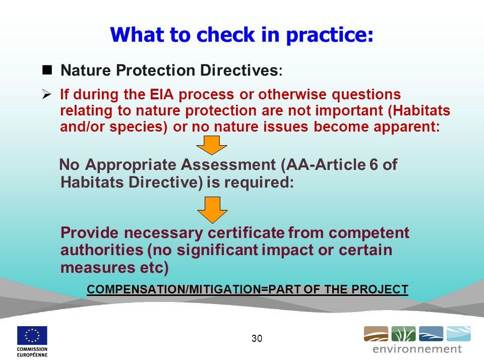 What to check in practice: Nature Protection Directives : If during the EIA process or otherwise questions relating to nature protection are not important (Habitats and/or species) or no nature issues become apparent: No Appropriate Assessment (AA-Article 6 of Habitats Directive) is required: Provide necessary certificate from competent authorities (no significant impact or certain measures etc) COMPENSATION/MITIGATION=PART OF THE PROJECT 30