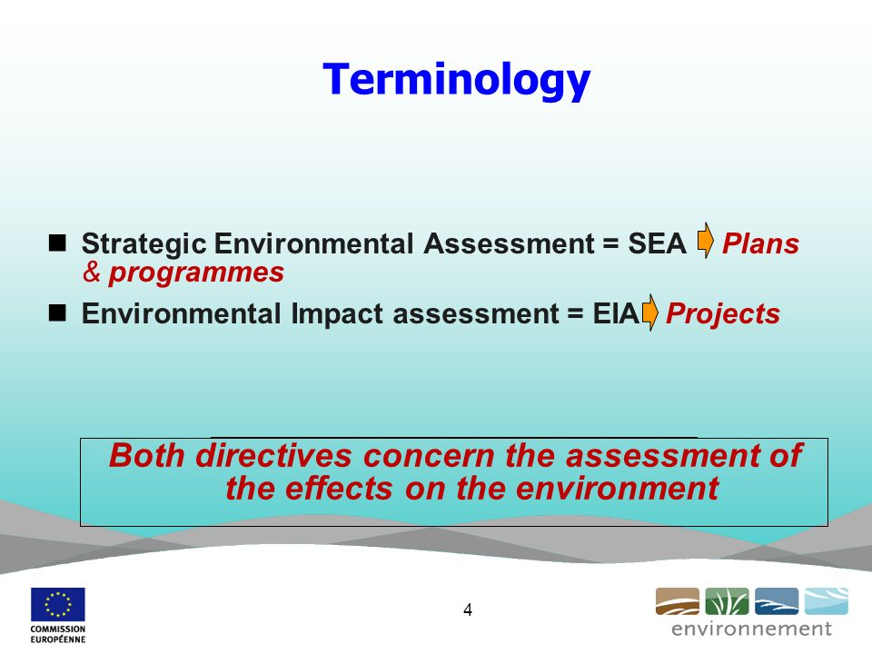 Terminology Strategic Environmental Assessment = SEA - Plans & programmes Environmental Impact assessment = EIA Projects Both directives concern the assessment of the effects on the environment 4