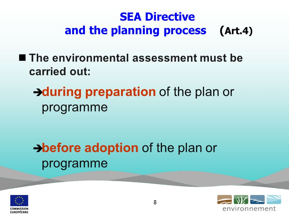 SEA Directive and the planning process ( Art.4) The environmental assessment must be carried out: during preparation of the plan or programme before adoption of the plan or programme 8