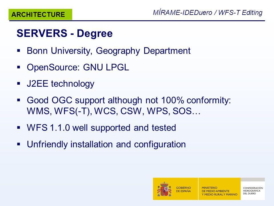 MÍRAME-IDEDuero / WFS-T Editing SERVERS - Degree Bonn University, Geography Department OpenSource: GNU LPGL J2EE technology Good OGC support although