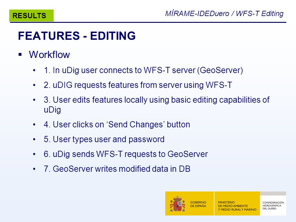 MÍRAME-IDEDuero / WFS-T Editing FEATURES - EDITING Workflow 1. In uDig user connects to WFS-T server (GeoServer) 2. uDIG requests features from server
