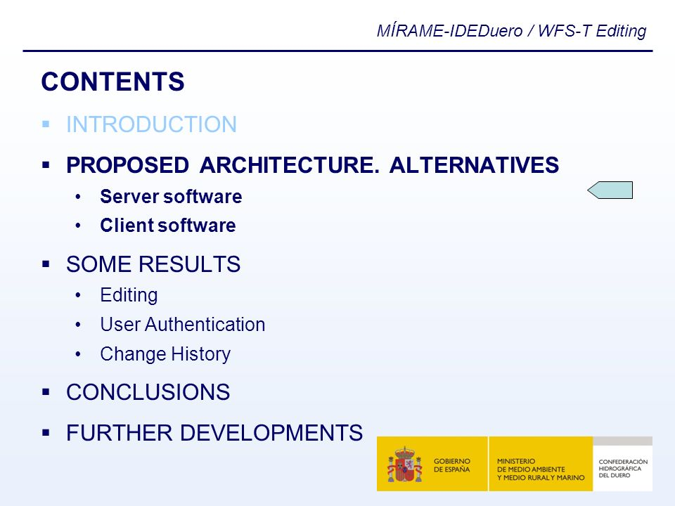 MÍRAME-IDEDuero / WFS-T Editing CONTENTS INTRODUCTION PROPOSED ARCHITECTURE. ALTERNATIVES Server software Client software SOME RESULTS Editing User Au