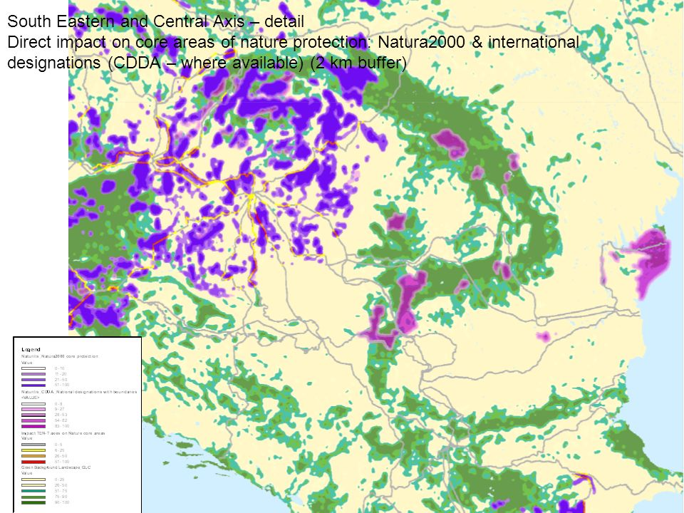 South Eastern and Central Axis – detail Direct impact on core areas of nature protection: Natura2000 & international designations (CDDA – where available) (2 km buffer)