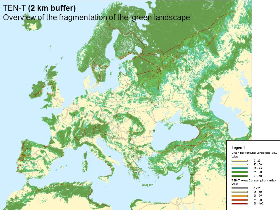 TEN-T (2 km buffer) Overview of the fragmentation of the green landscape