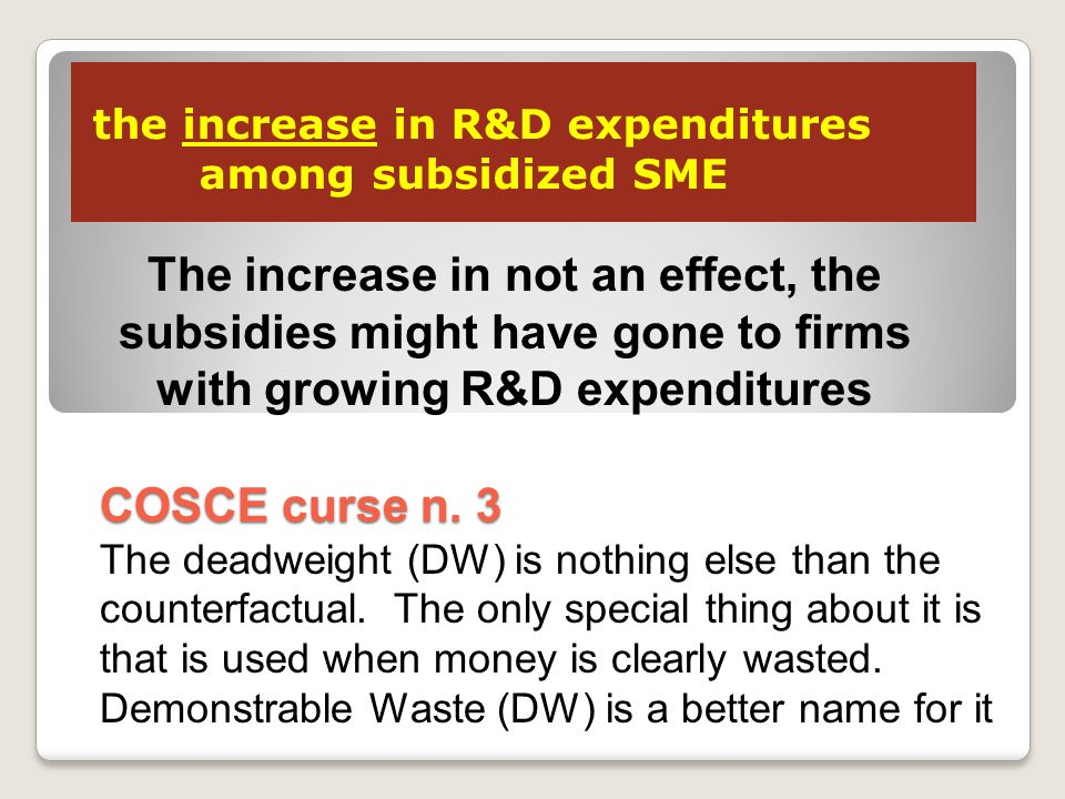 the increase in R&D expenditures among subsidized SME COSCE curse n.