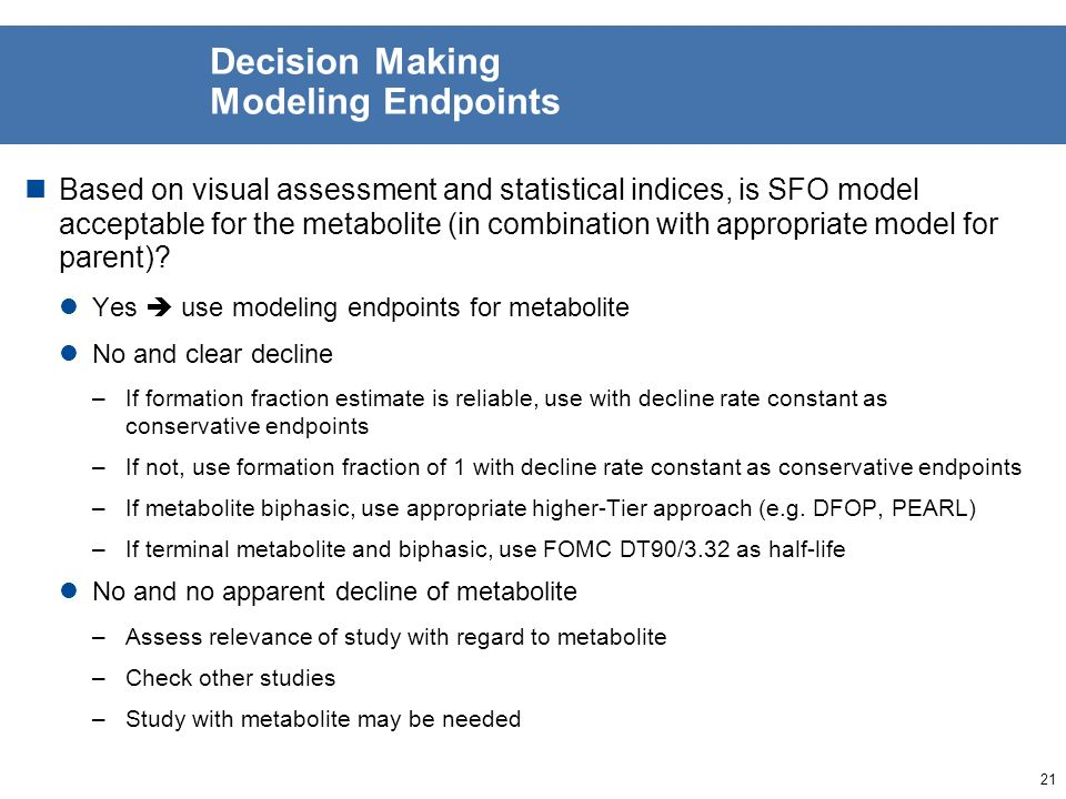 20 Decision Making Trigger Endpoints Based on visual assessment and statistical indices, is SFO model acceptable for the metabolite (in combination wi