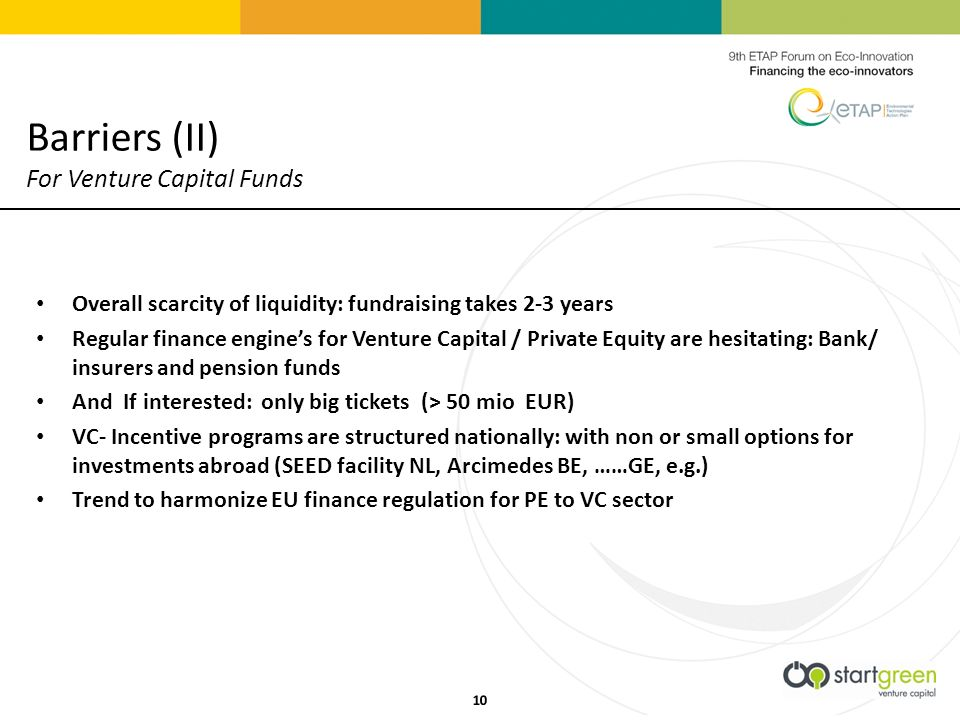 Overall scarcity of liquidity: fundraising takes 2-3 years Regular finance engines for Venture Capital / Private Equity are hesitating: Bank/ insurers and pension funds And If interested: only big tickets (> 50 mio EUR) VC- Incentive programs are structured nationally: with non or small options for investments abroad (SEED facility NL, Arcimedes BE, ……GE, e.g.) Trend to harmonize EU finance regulation for PE to VC sector Barriers (II) For Venture Capital Funds 10