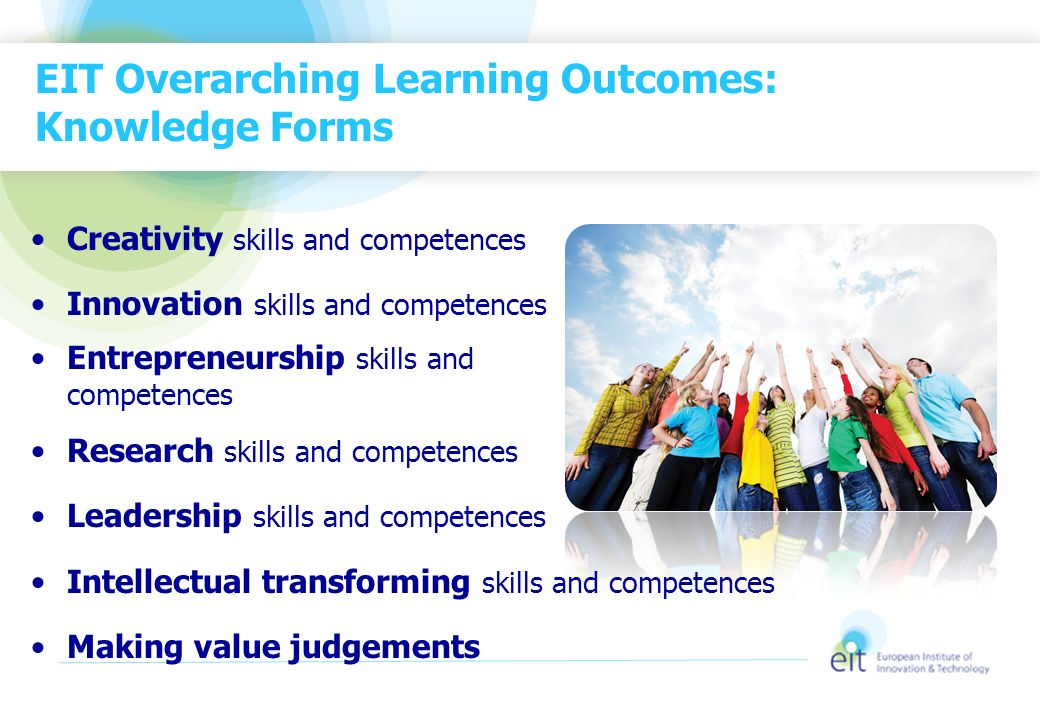 EIT Overarching Learning Outcomes: Knowledge Forms Creativity skills and competences Innovation skills and competences Entrepreneurship skills and com