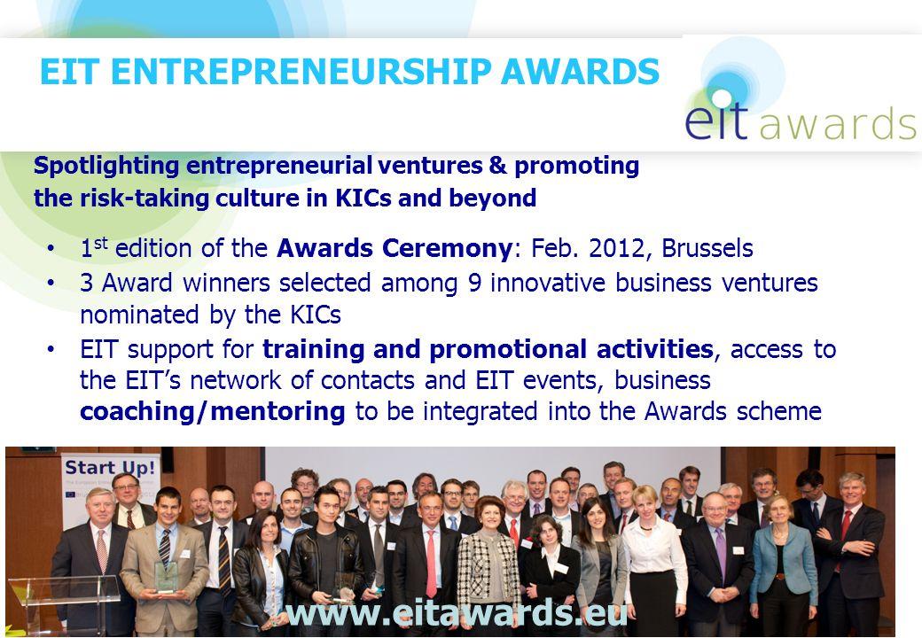 EIT ENTREPRENEURSHIP AWARDS 1 st edition of the Awards Ceremony: Feb. 2012, Brussels 3 Award winners selected among 9 innovative business ventures nom