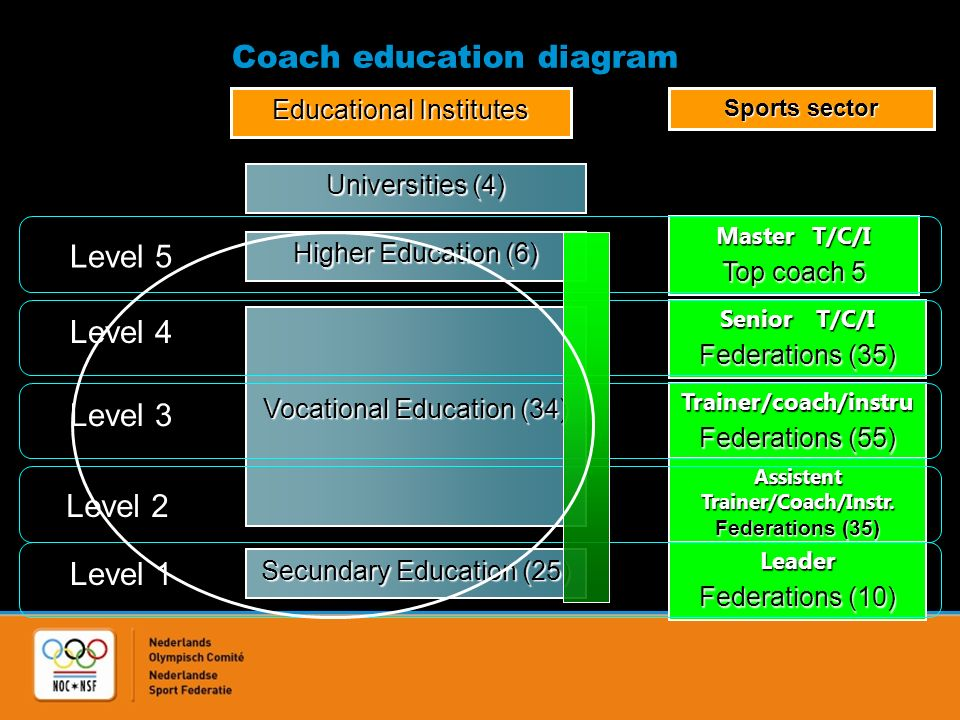 Coach education diagram Level 5 Level 4 Level 3 Level 2 Level 1 Higher Education (6) Vocational Education (34) Secundary Education (25) MasterT/C/I Top coach 5 SeniorT/C/I Federations (35) Trainer/coach/instru Federations (55) Assistent Trainer/Coach/Instr.