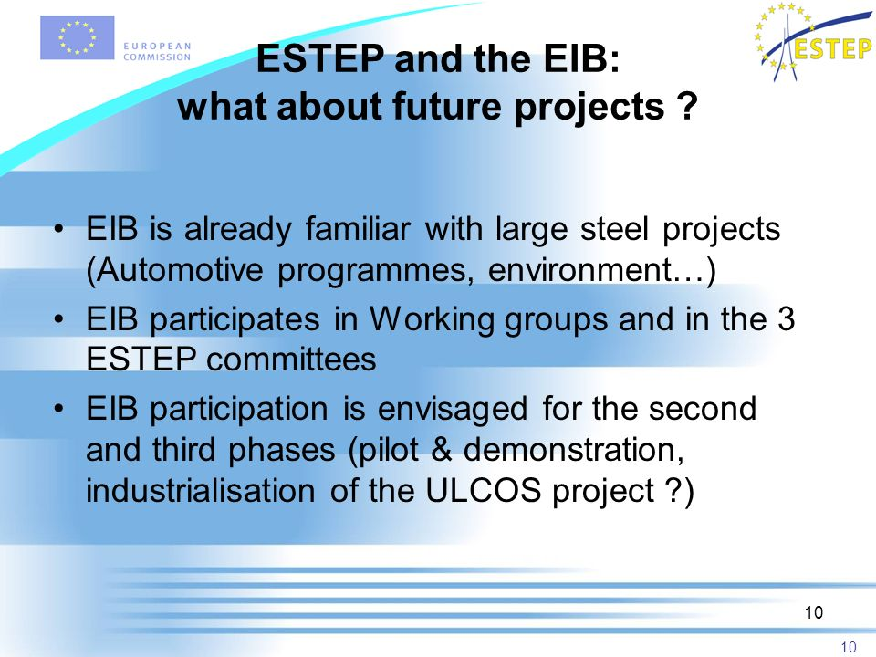 10 ESTEP and the EIB: what about future projects .
