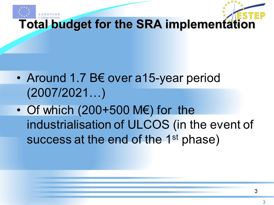 3 3 Total budget for the SRA implementation Around 1.7 B over a15-year period (2007/2021…) Of which (200+500 M) for the industrialisation of ULCOS (in the event of success at the end of the 1 st phase)