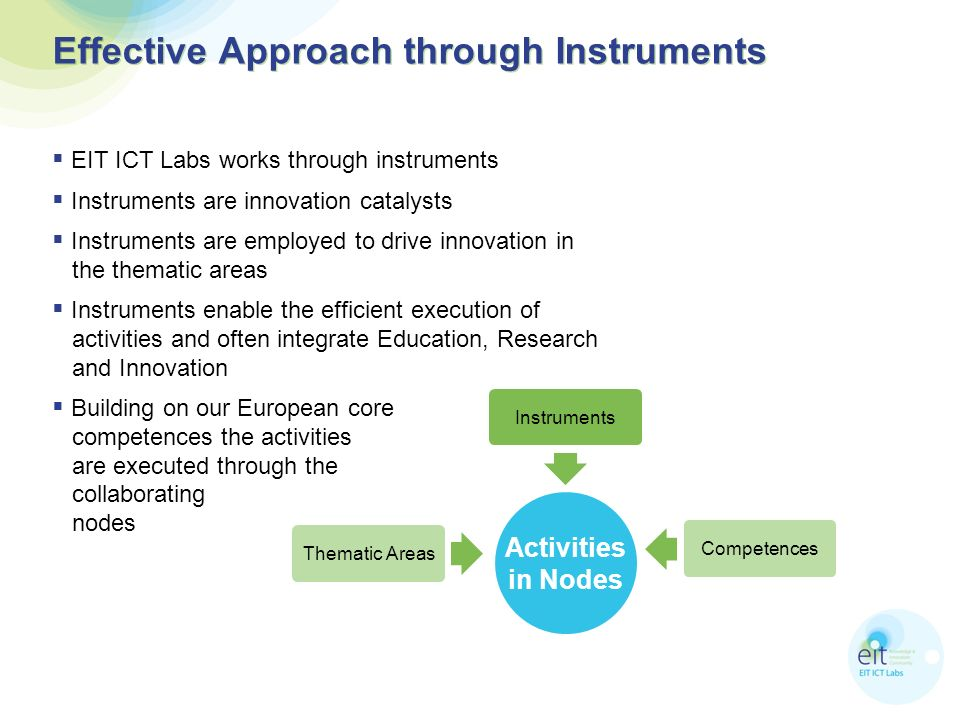 Effective Approach through Instruments EIT ICT Labs works through instruments Instruments are innovation catalysts Instruments are employed to drive innovation in the thematic areas Instruments enable the efficient execution of activities and often integrate Education, Research and Innovation Building on our European core competences the activities are executed through the collaborating nodes Instruments Competences Thematic Areas Activities in Nodes