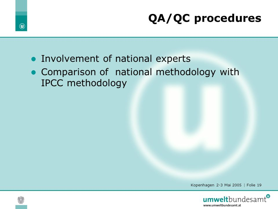 Kopenhagen 2-3 Mai 2005 | Folie 19 QA/QC procedures Involvement of national experts Comparison of national methodology with IPCC methodology