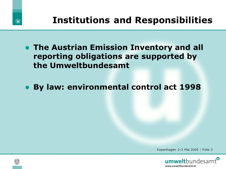 Kopenhagen 2-3 Mai 2005 | Folie 3 Institutions and Responsibilities The Austrian Emission Inventory and all reporting obligations are supported by the Umweltbundesamt By law: environmental control act 1998