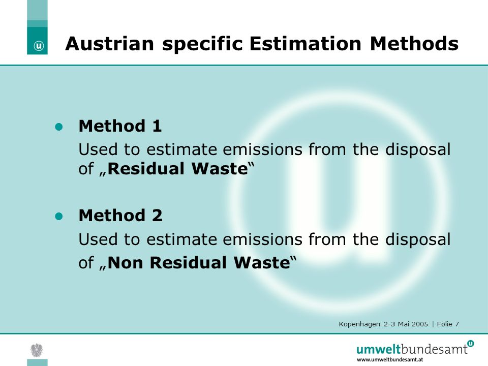 Kopenhagen 2-3 Mai 2005 | Folie 8 Methodology for Emission Calculation of Residual Waste Model of Tabasaran-Rettenberger G t = 1,868*DOC*(0,014*T+0,28)*(1-10 (-kt) ) G t cumulated landfill gas after t years [m 3 /t humid waste] DOCbio-degradable organic carbon content of deposited waste [kgC/t humid waste] Tmean temperature of disposal site [ o C] kdegradation constant tnumber of years DOC200 - 120kg/t humid waste T30°C k0,035 Calculation period: 31 years