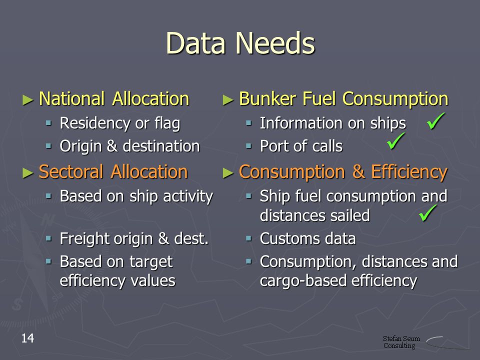 Data Needs National Allocation National Allocation Residency or flag Residency or flag Origin & destination Origin & destination Sectoral Allocation Sectoral Allocation Based on ship activity Based on ship activity Freight origin & dest.