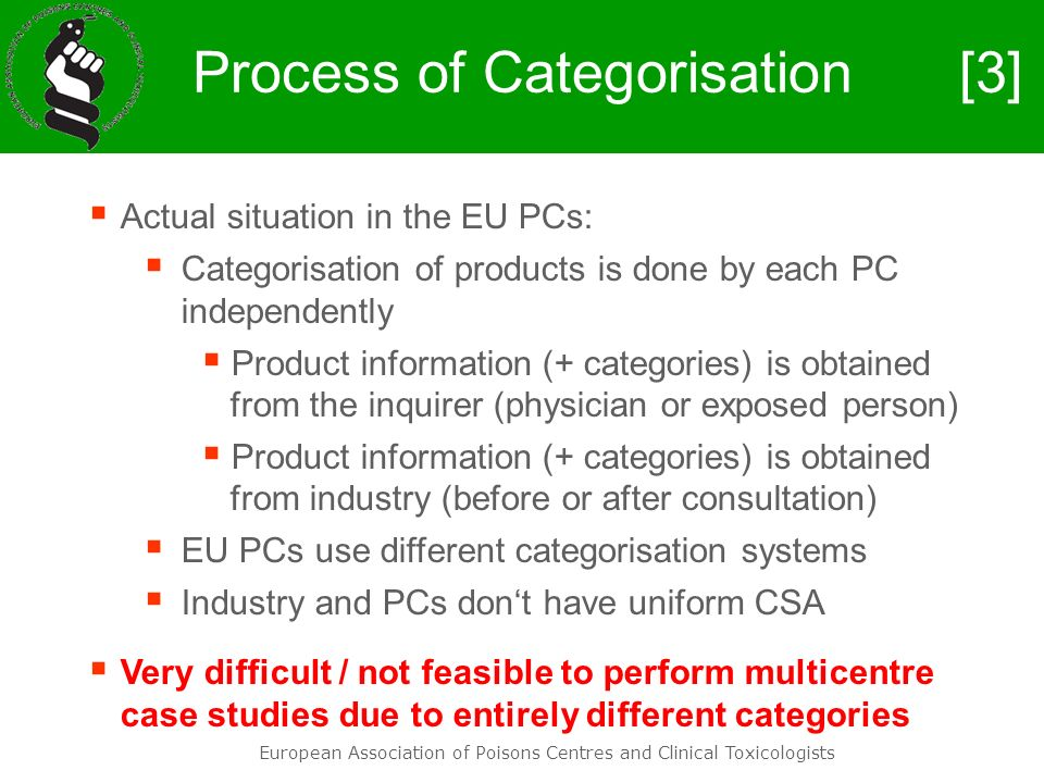 European Association of Poisons Centres and Clinical Toxicologists Process of Categorisation Actual situation in the EU PCs: Categorisation of product