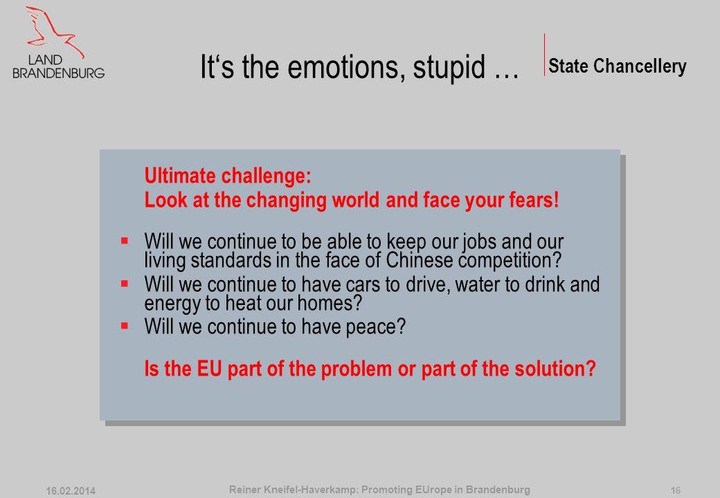 Trilateral Youth Parliament State Chancellery 16.02.2014 15 Reiner Kneifel-Haverkamp: Promoting EUrope in Brandenburg