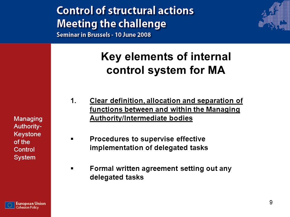 20 Preventive actions Managing Authority- Keystone of the Control System Ensure that the key requirements MA of the management and control systems work well Need to make a proper risk assessment per programme to reduce the risk of error and the risks -of not absorbing funds -of having to pay back funds Develop a strategy to manage the risks - by preventive and - proactive measures