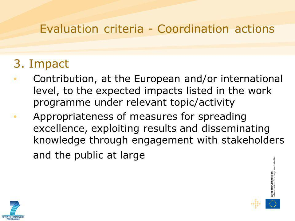 3. Impact Contribution, at the European and/or international level, to the expected impacts listed in the work programme under relevant topic/activity