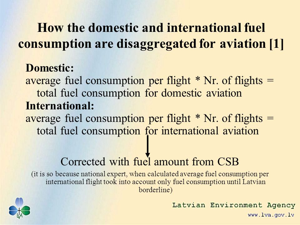 How the domestic and international fuel consumption are disaggregated for aviation [1] Domestic: average fuel consumption per flight * Nr.