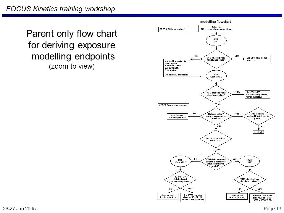 26-27 Jan 2005 Page 13 FOCUS Kinetics training workshop Parent only flow chart for deriving exposure modelling endpoints (zoom to view) modelling flowchart
