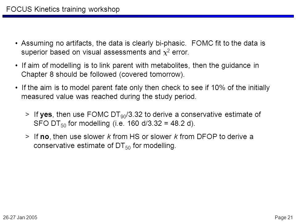 26-27 Jan 2005 Page 21 FOCUS Kinetics training workshop Assuming no artifacts, the data is clearly bi-phasic.
