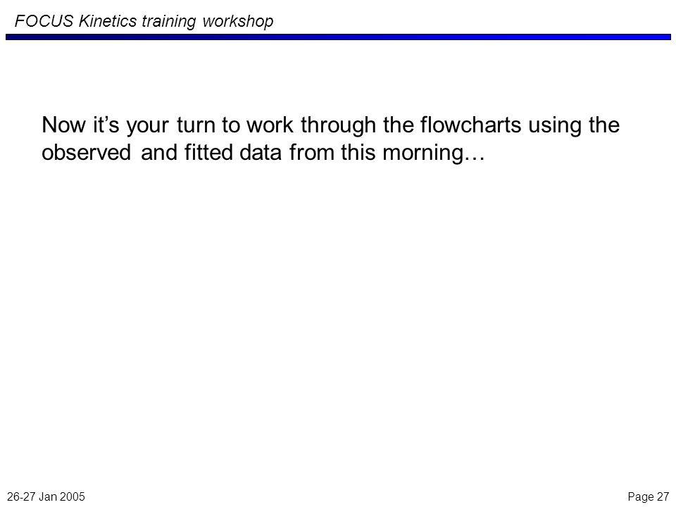 26-27 Jan 2005 Page 27 FOCUS Kinetics training workshop Now its your turn to work through the flowcharts using the observed and fitted data from this morning…