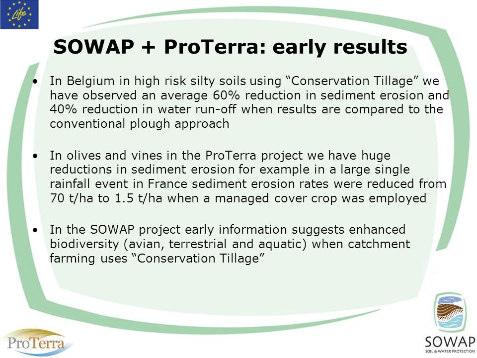 SOWAP + ProTerra: early results In Belgium in high risk silty soils using Conservation Tillage we have observed an average 60% reduction in sediment erosion and 40% reduction in water run-off when results are compared to the conventional plough approach In olives and vines in the ProTerra project we have huge reductions in sediment erosion for example in a large single rainfall event in France sediment erosion rates were reduced from 70 t/ha to 1.5 t/ha when a managed cover crop was employed In the SOWAP project early information suggests enhanced biodiversity (avian, terrestrial and aquatic) when catchment farming uses Conservation Tillage
