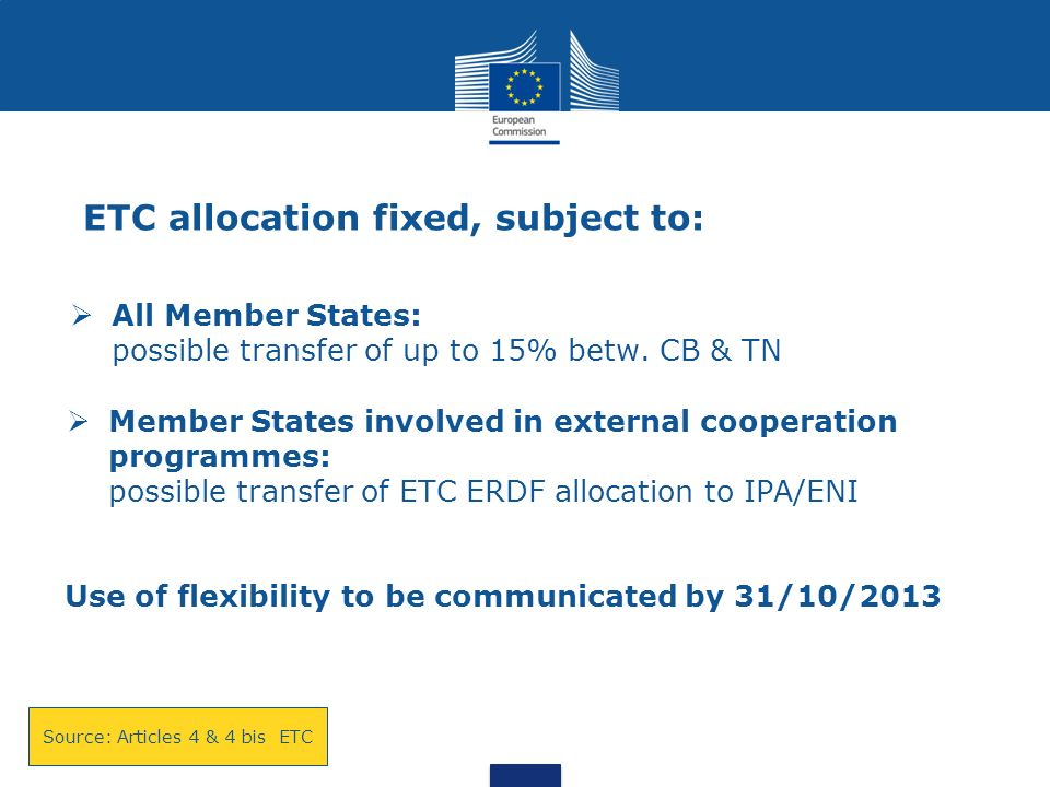 ETC allocation fixed, subject to: All Member States: possible transfer of up to 15% betw.