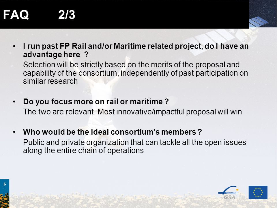 6 FAQ 2/3 I run past FP Rail and/or Maritime related project, do I have an advantage here .