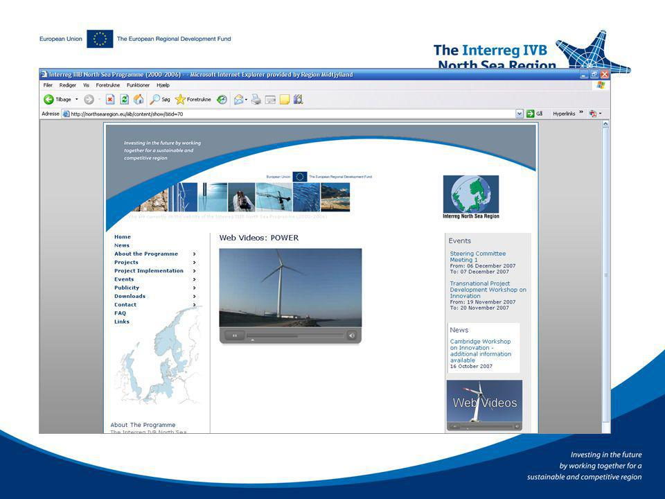 Innovative features Web videos Good integration with programme database Interactive maps Under development: More videos and VNRs Partner search tool GIS for more informative maps of the region More integration with database