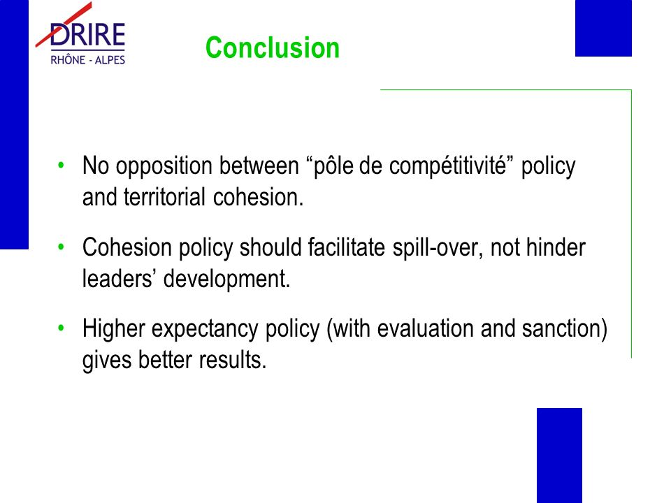 Conclusion No opposition between pôle de compétitivité policy and territorial cohesion.