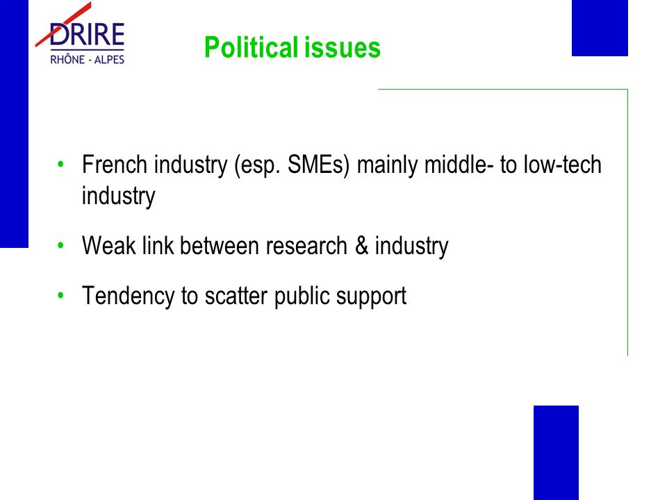 Political issues French industry (esp.