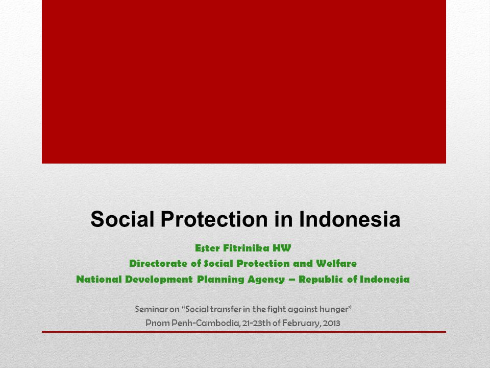 Social Protection in Indonesia Ester Fitrinika HW Directorate of Social Protection and Welfare National Development Planning Agency – Republic of Indo